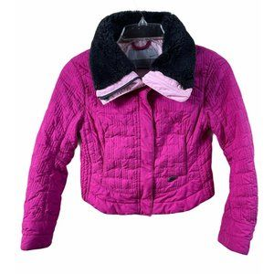 Nike Quilted Jacket Size Small Pink Fuschia Black